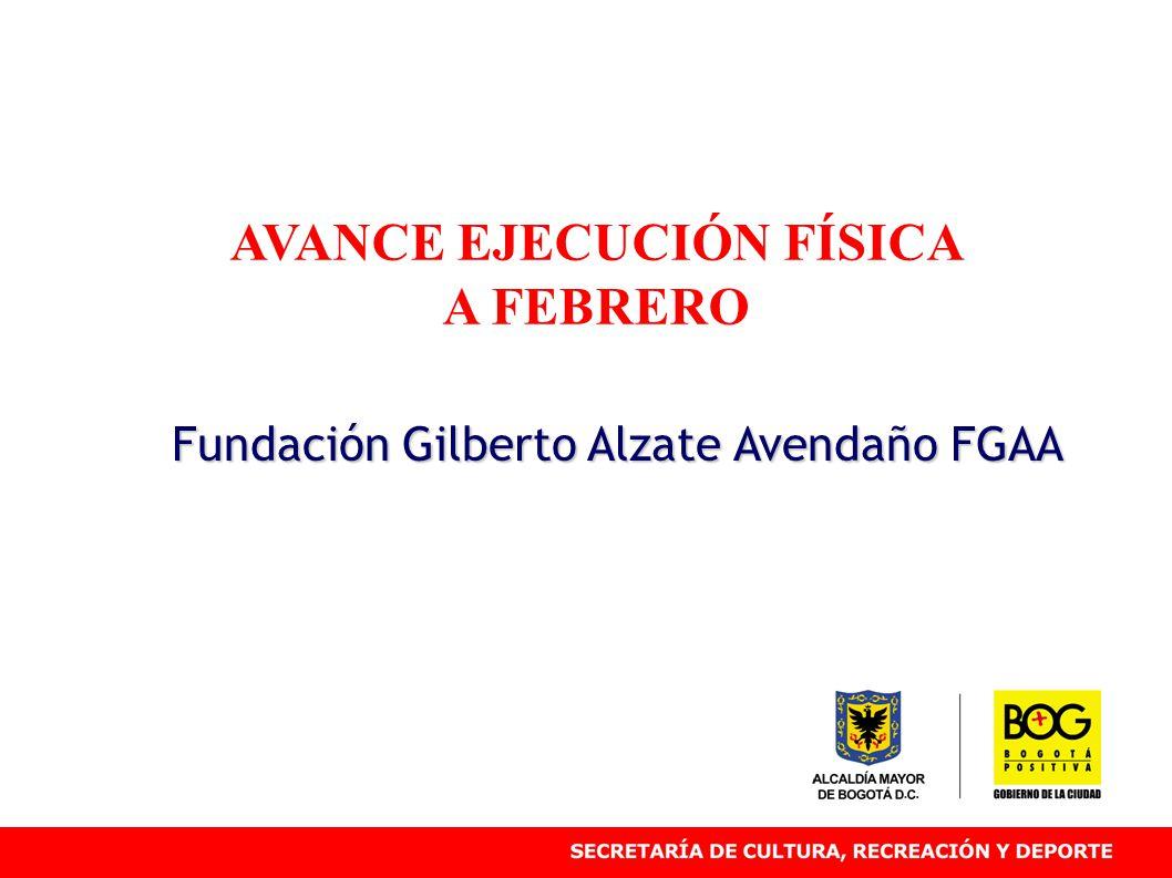 AVANCE EJECUCIÓN FÍSICA A FEBRERO Fundación Gilberto Alzate Avendaño FGAA
