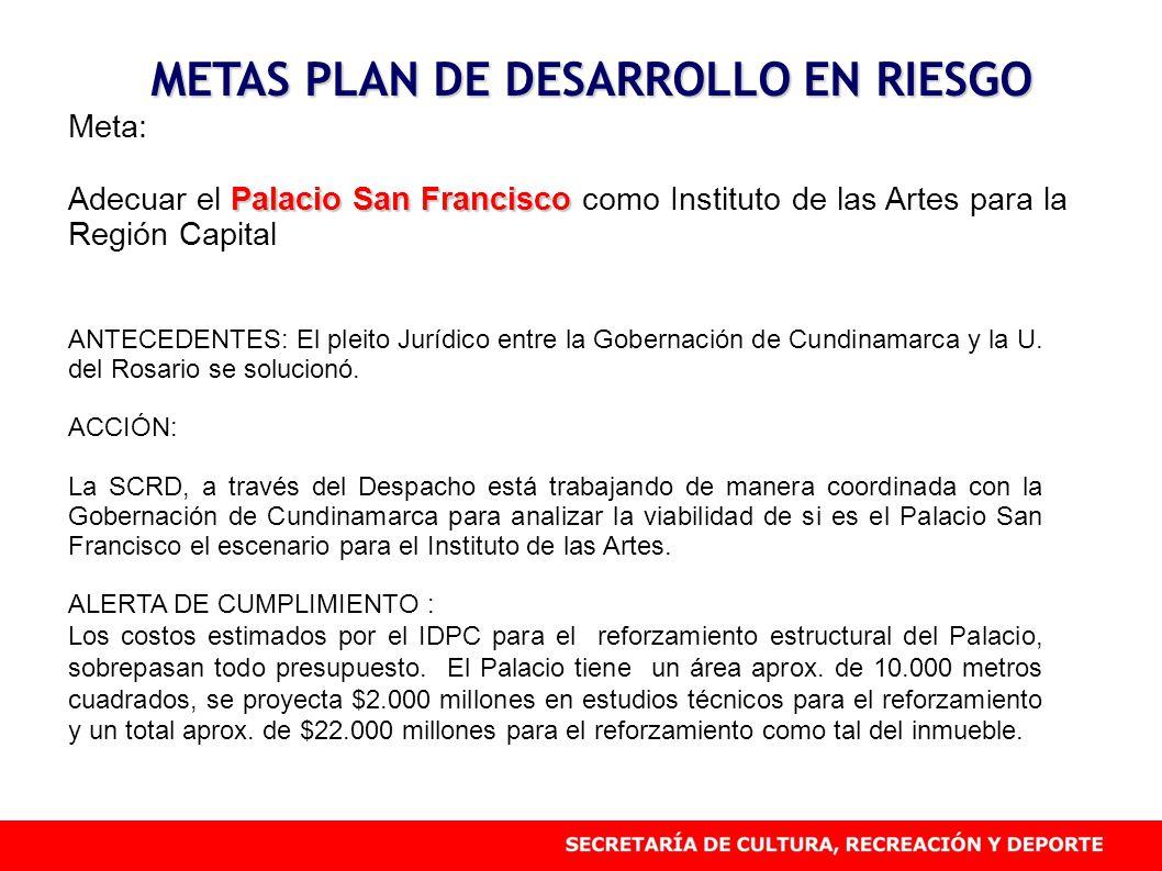 METAS PLAN DE DESARROLLO EN RIESGO Meta: Palacio San Francisco Adecuar el Palacio San Francisco como Instituto de las Artes para la Región Capital ANT