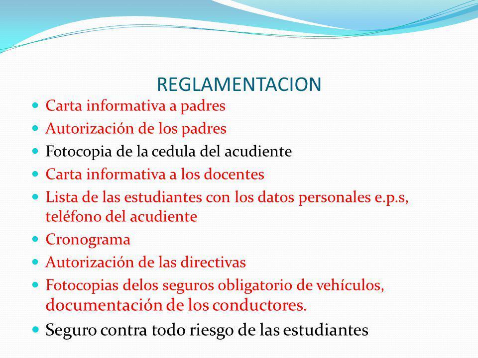 REGLAMENTACION Carta informativa a padres Autorización de los padres Fotocopia de la cedula del acudiente Carta informativa a los docentes Lista de la