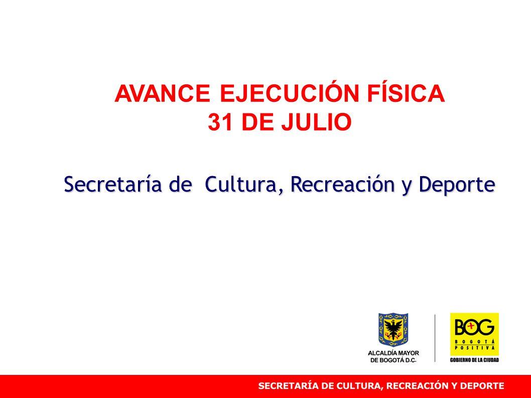 AVANCE EJECUCIÓN FÍSICA 31 DE JULIO Secretaría de Cultura, Recreación y Deporte