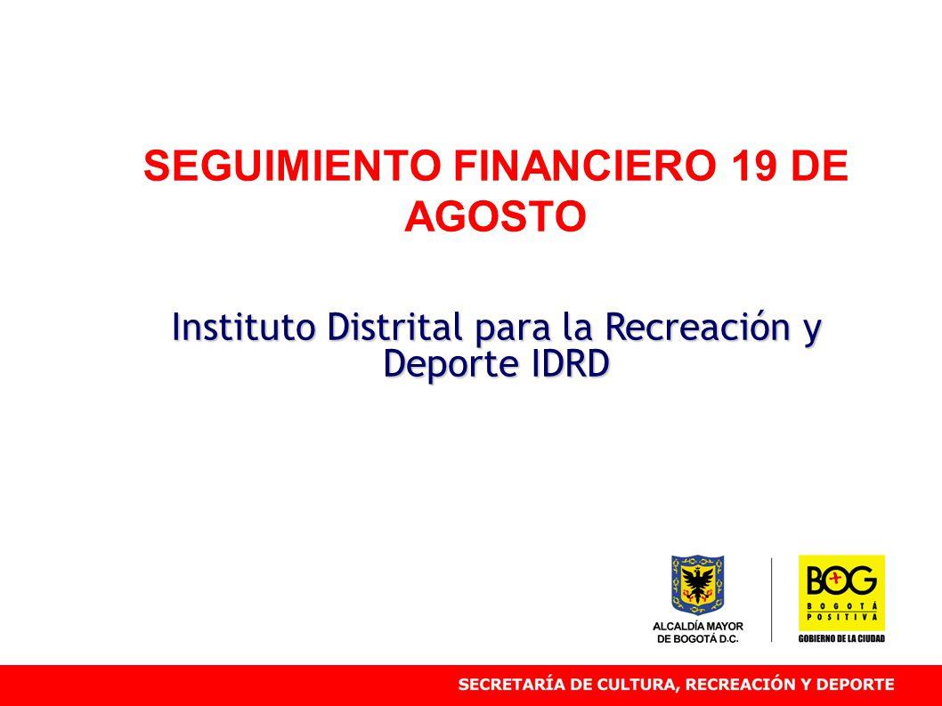 SEGUIMIENTO FINANCIERO 19 DE AGOSTO Instituto Distrital para la Recreación y Deporte IDRD