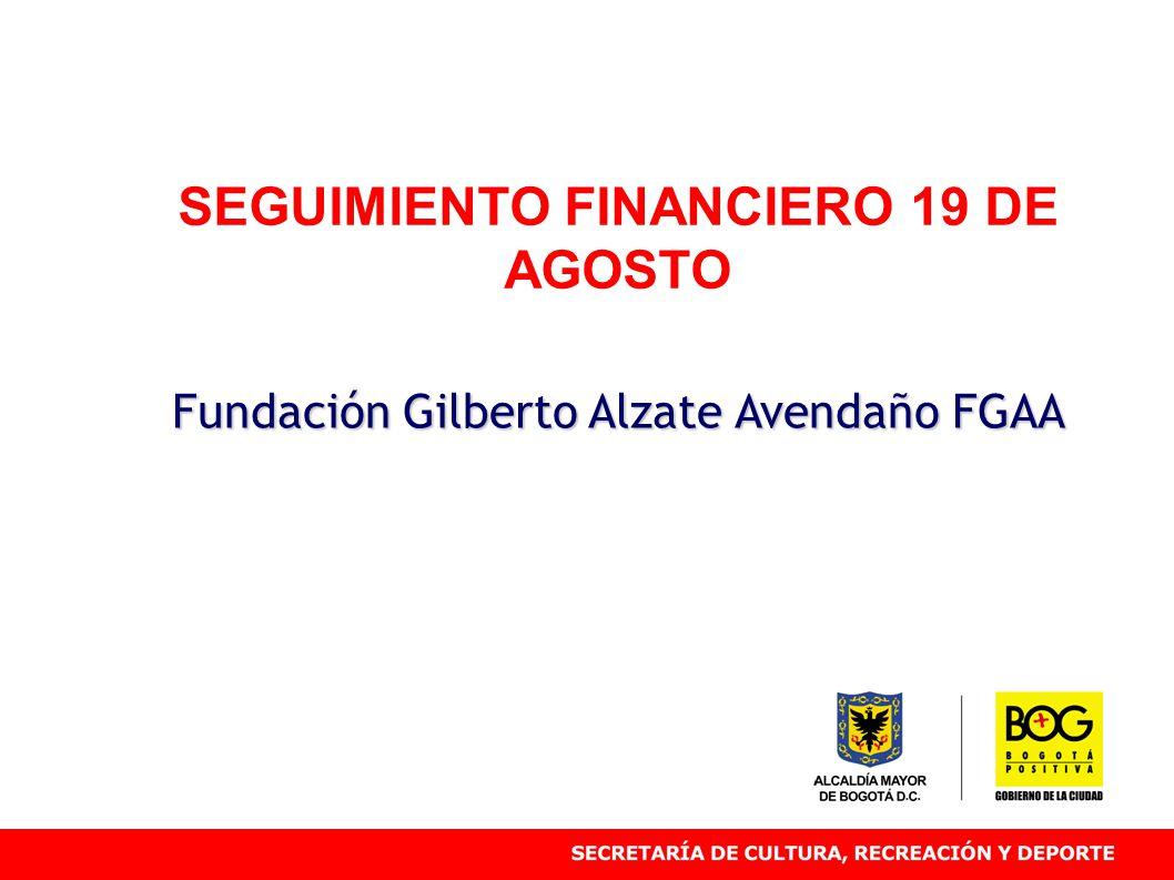 SEGUIMIENTO FINANCIERO 19 DE AGOSTO Fundación Gilberto Alzate Avendaño FGAA