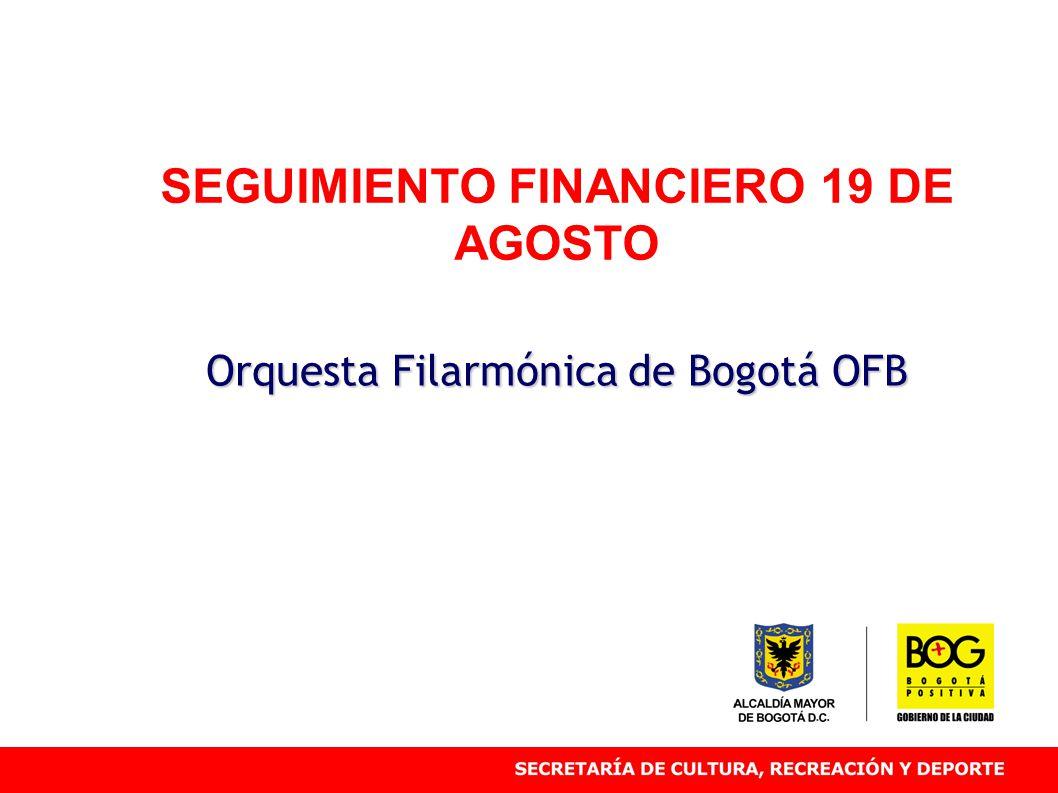 SEGUIMIENTO FINANCIERO 19 DE AGOSTO Orquesta Filarmónica de Bogotá OFB