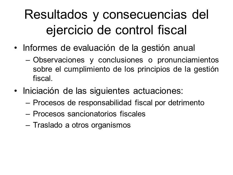 Resultados y consecuencias del ejercicio de control fiscal Informes de evaluación de la gestión anual –Observaciones y conclusiones o pronunciamientos