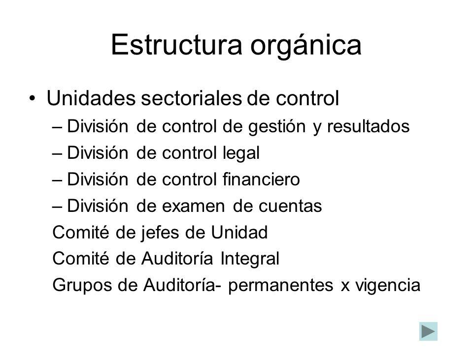 Estructura orgánica Unidades sectoriales de control –División de control de gestión y resultados –División de control legal –División de control finan