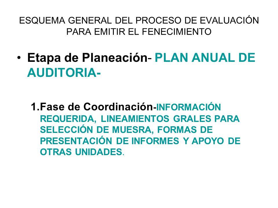 ESQUEMA GENERAL DEL PROCESO DE EVALUACIÓN PARA EMITIR EL FENECIMIENTO Etapa de Planeación- PLAN ANUAL DE AUDITORIA- 1.Fase de Coordinación -INFORMACIÓ