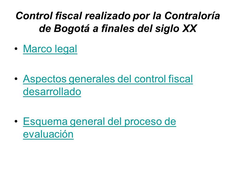 Control fiscal realizado por la Contraloría de Bogotá a finales del siglo XX Marco legal Aspectos generales del control fiscal desarrolladoAspectos ge
