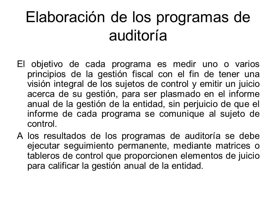 Elaboración de los programas de auditoría El objetivo de cada programa es medir uno o varios principios de la gestión fiscal con el fin de tener una v