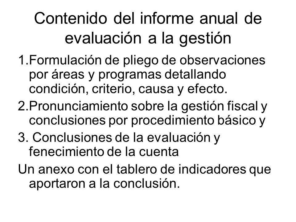 Contenido del informe anual de evaluación a la gestión 1.Formulación de pliego de observaciones por áreas y programas detallando condición, criterio,