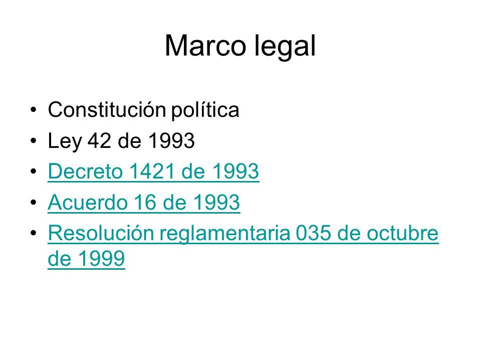 Marco legal Constitución política Ley 42 de 1993 Decreto 1421 de 1993 Acuerdo 16 de 1993 Resolución reglamentaria 035 de octubre de 1999Resolución reg