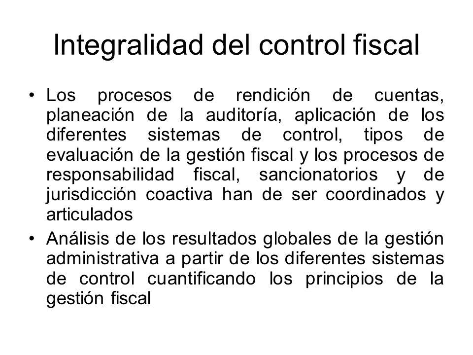 Integralidad del control fiscal Los procesos de rendición de cuentas, planeación de la auditoría, aplicación de los diferentes sistemas de control, ti