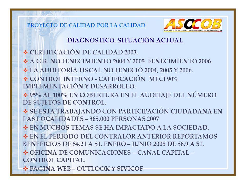 PROYECTO DE CALIDAD POR LA CALIDAD DIAGNOSTICO: SITUACIÓN ACTUAL CERTIFICACIÓN DE CALIDAD 2003. A.G.R. NO FENECIMIENTO 2004 Y 2005. FENECIMIENTO 2006.