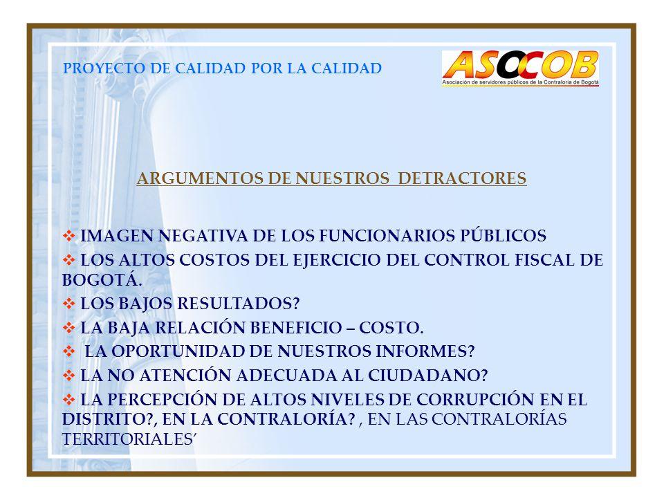 PROYECTO DE CALIDAD POR LA CALIDAD ARGUMENTOS DE NUESTROS DETRACTORES IMAGEN NEGATIVA DE LOS FUNCIONARIOS PÚBLICOS LOS ALTOS COSTOS DEL EJERCICIO DEL