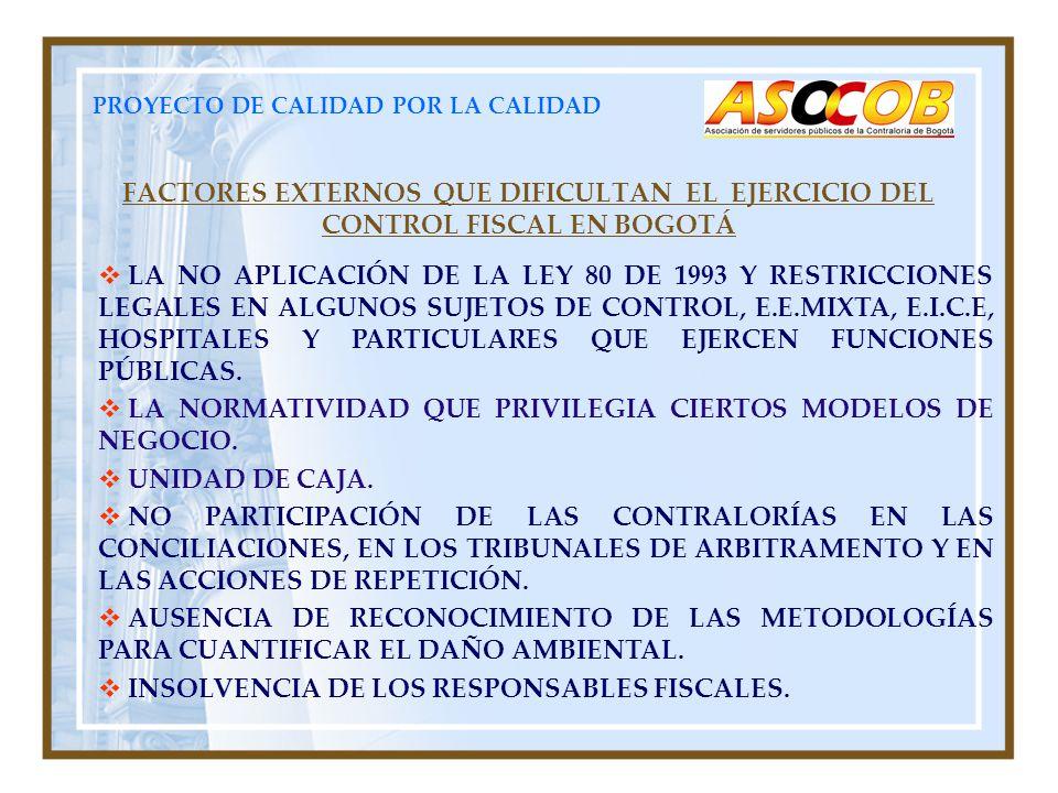 PROYECTO DE CALIDAD POR LA CALIDAD FACTORES EXTERNOS QUE DIFICULTAN EL EJERCICIO DEL CONTROL FISCAL EN BOGOTÁ LA NO APLICACIÓN DE LA LEY 80 DE 1993 Y RESTRICCIONES LEGALES EN ALGUNOS SUJETOS DE CONTROL, E.E.MIXTA, E.I.C.E, HOSPITALES Y PARTICULARES QUE EJERCEN FUNCIONES PÚBLICAS.