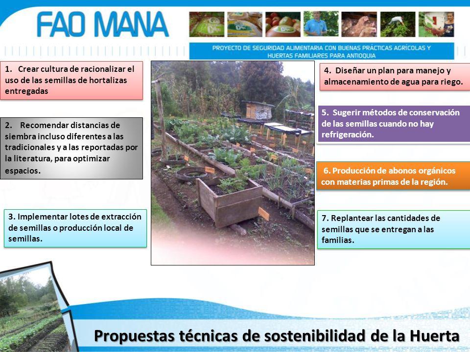 1. Crear cultura de racionalizar el uso de las semillas de hortalizas entregadas 2. Recomendar distancias de siembra incluso diferentes a las tradicio