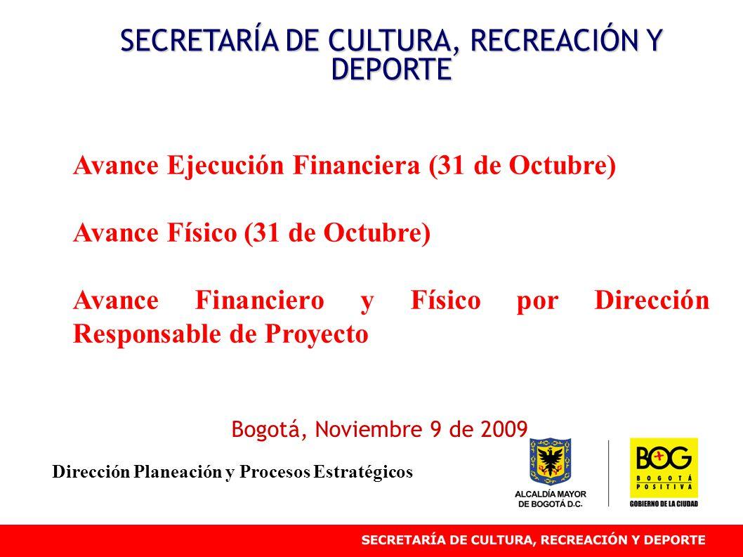 Avance Ejecución Financiera (31 de Octubre) Avance Físico (31 de Octubre) Avance Financiero y Físico por Dirección Responsable de Proyecto SECRETARÍA DE CULTURA, RECREACIÓN Y DEPORTE Bogotá, Noviembre 9 de 2009 Dirección Planeación y Procesos Estratégicos