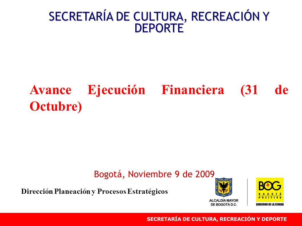 Avance Ejecución Financiera (31 de Octubre) SECRETARÍA DE CULTURA, RECREACIÓN Y DEPORTE Bogotá, Noviembre 9 de 2009 Dirección Planeación y Procesos Estratégicos