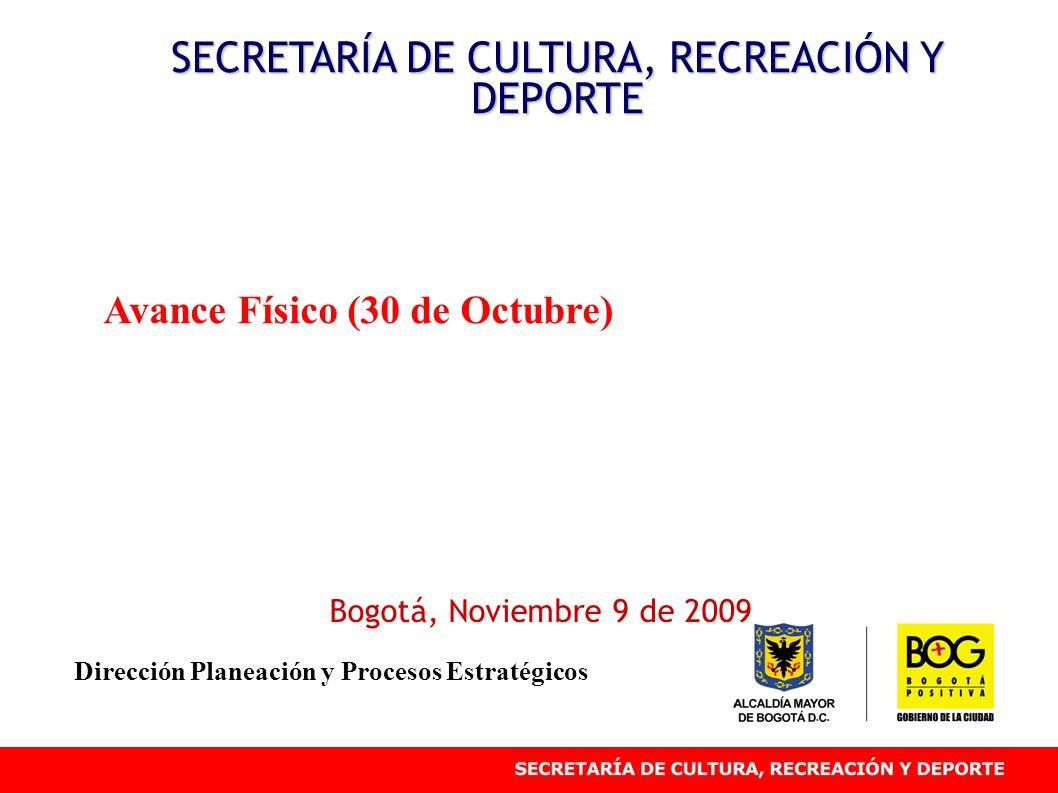 Avance Físico (30 de Octubre) SECRETARÍA DE CULTURA, RECREACIÓN Y DEPORTE Bogotá, Noviembre 9 de 2009 Dirección Planeación y Procesos Estratégicos
