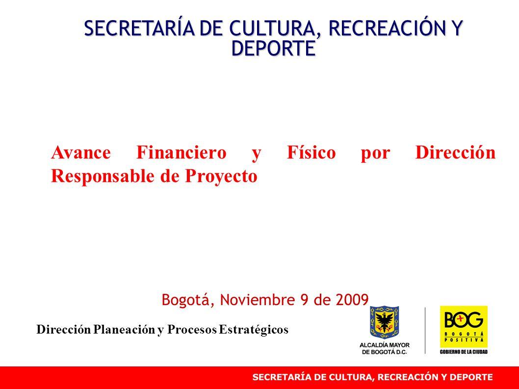 Avance Financiero y Físico por Dirección Responsable de Proyecto SECRETARÍA DE CULTURA, RECREACIÓN Y DEPORTE Bogotá, Noviembre 9 de 2009 Dirección Planeación y Procesos Estratégicos