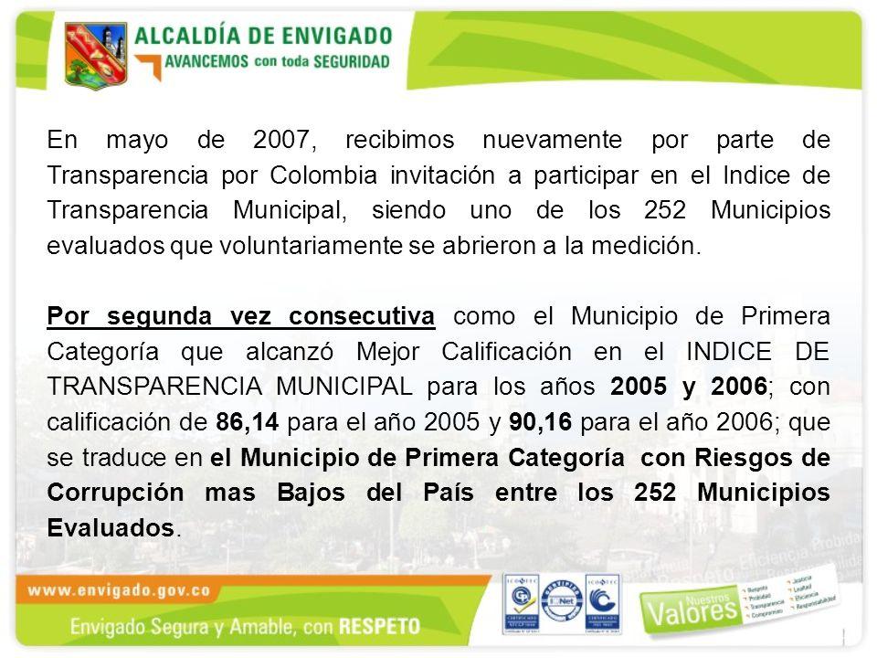 En mayo de 2007, recibimos nuevamente por parte de Transparencia por Colombia invitación a participar en el Indice de Transparencia Municipal, siendo uno de los 252 Municipios evaluados que voluntariamente se abrieron a la medición.