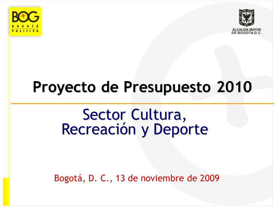 Proyecto de Presupuesto 2010 Bogotá, D. C., 13 de noviembre de 2009 Sector Cultura, Recreación y Deporte