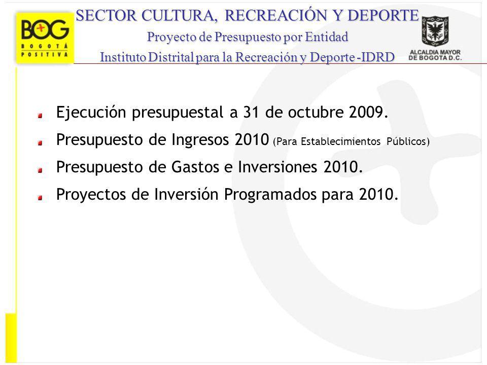SECTOR CULTURA, RECREACIÓN Y DEPORTE Proyecto de Presupuesto por Entidad Instituto Distrital para la Recreación y Deporte -IDRD Ejecución presupuestal