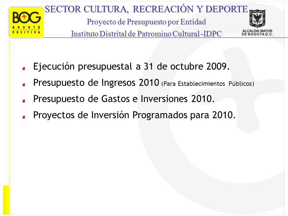 SECTOR CULTURA, RECREACIÓN Y DEPORTE Proyecto de Presupuesto por Entidad Instituto Distrital de Patromino Cultural -IDPC Ejecución presupuestal a 31 d