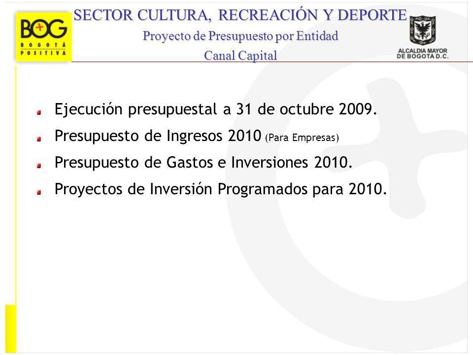 SECTOR CULTURA, RECREACIÓN Y DEPORTE Proyecto de Presupuesto por Entidad Canal Capital Ejecución presupuestal a 31 de octubre 2009. Presupuesto de Ing