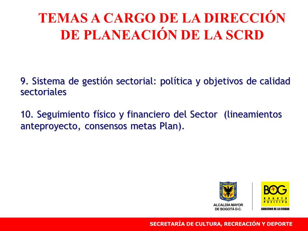 9. Sistema de gestión sectorial: política y objetivos de calidad sectoriales 10.