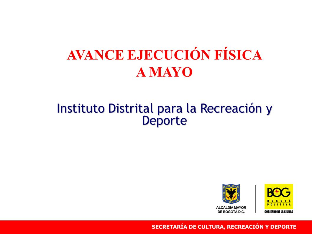 AVANCE EJECUCIÓN FÍSICA A MAYO Instituto Distrital para la Recreación y Deporte