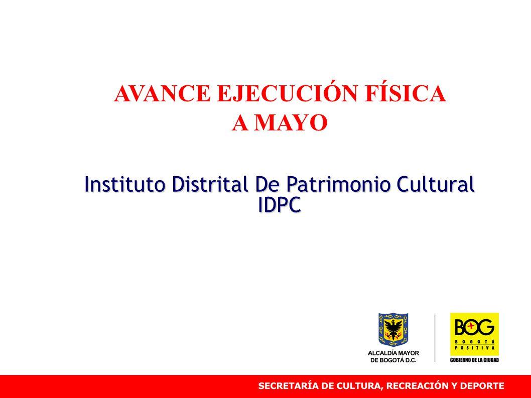 AVANCE EJECUCIÓN FÍSICA A MAYO Instituto Distrital De Patrimonio Cultural IDPC