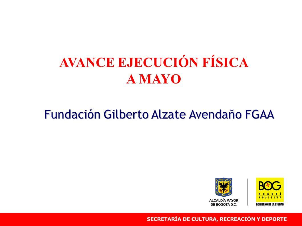 AVANCE EJECUCIÓN FÍSICA A MAYO Fundación Gilberto Alzate Avendaño FGAA