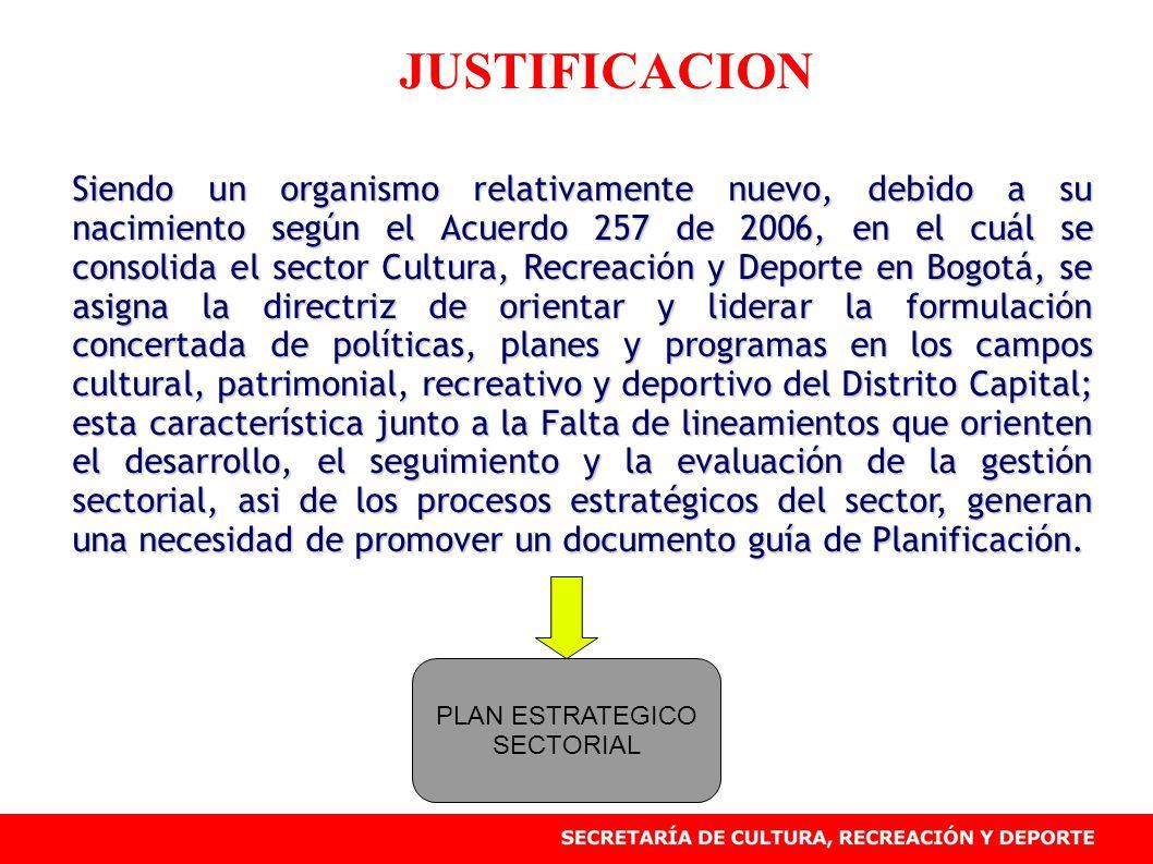 JUSTIFICACION Siendo un organismo relativamente nuevo, debido a su nacimiento según el Acuerdo 257 de 2006, en el cuál se consolida el sector Cultura, Recreación y Deporte en Bogotá, se asigna la directriz de orientar y liderar la formulación concertada de políticas, planes y programas en los campos cultural, patrimonial, recreativo y deportivo del Distrito Capital; esta característica junto a la Falta de lineamientos que orienten el desarrollo, el seguimiento y la evaluación de la gestión sectorial, asi de los procesos estratégicos del sector, generan una necesidad de promover un documento guía de Planificación.