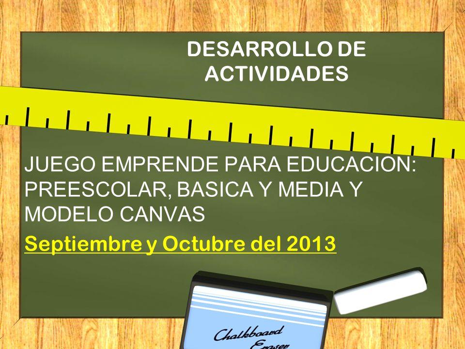 DESARROLLO DE ACTIVIDADES JUEGO EMPRENDE PARA EDUCACION: PREESCOLAR, BASICA Y MEDIA Y MODELO CANVAS Septiembre y Octubre del 2013