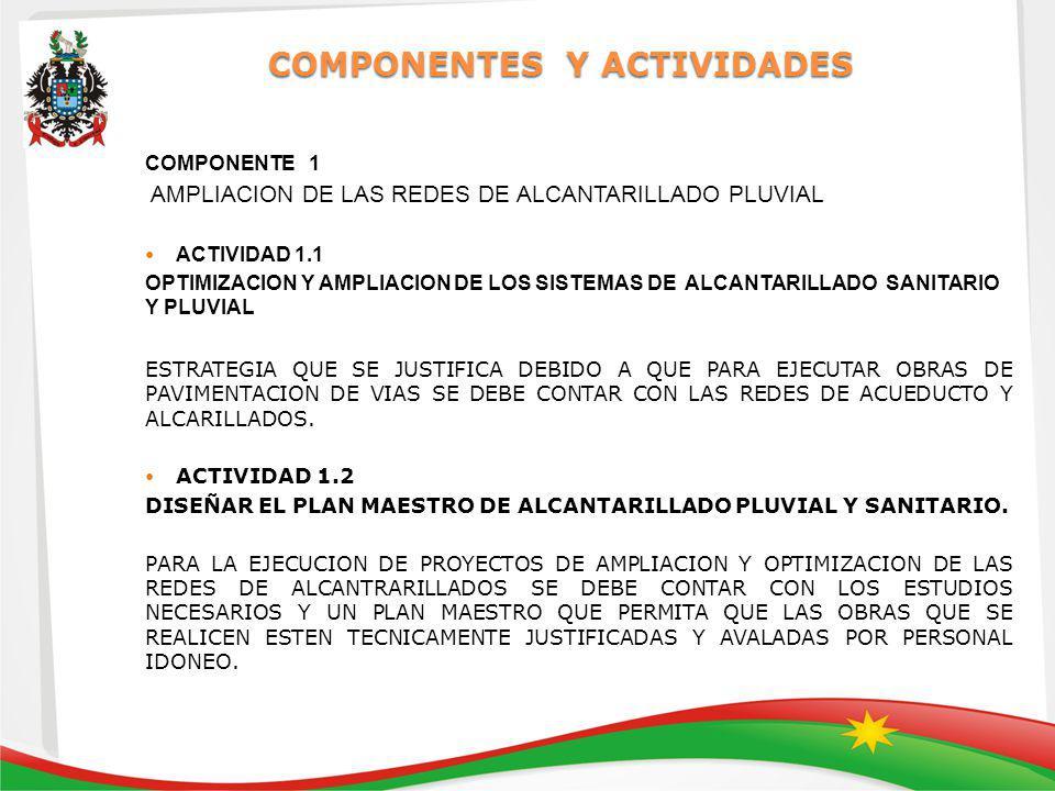COMPONENTES Y ACTIVIDADES COMPONENTE 1 AMPLIACION DE LAS REDES DE ALCANTARILLADO PLUVIAL ACTIVIDAD 1.1 OPTIMIZACION Y AMPLIACION DE LOS SISTEMAS DE ALCANTARILLADO SANITARIO Y PLUVIAL ESTRATEGIA QUE SE JUSTIFICA DEBIDO A QUE PARA EJECUTAR OBRAS DE PAVIMENTACION DE VIAS SE DEBE CONTAR CON LAS REDES DE ACUEDUCTO Y ALCARILLADOS.