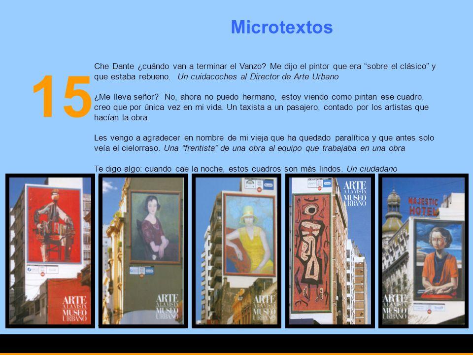 15 Microtextos Che Dante ¿cuándo van a terminar el Vanzo? Me dijo el pintor que era sobre el clásico y que estaba rebueno. Un cuidacoches al Director