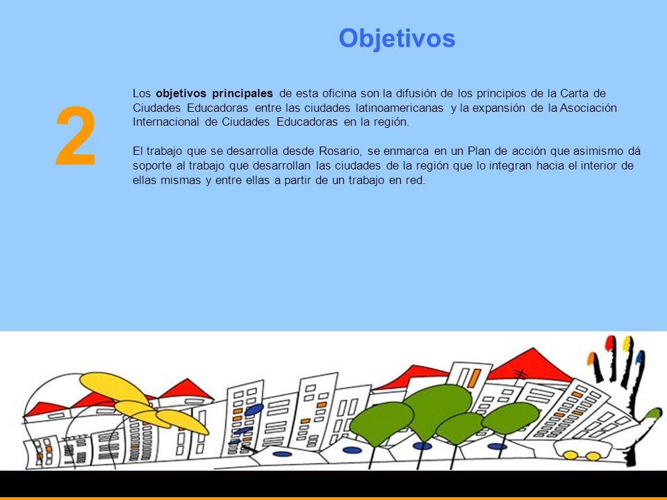 Objetivos Los objetivos principales de esta oficina son la difusión de los principios de la Carta de Ciudades Educadoras entre las ciudades latinoamer