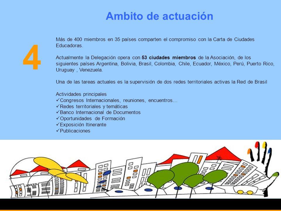 Ciudad Educadora 5 Una ciudad es educadora cuando reconoce, ejercita y promueve, además de sus tareas tradicionales, una función orientada a la Formación, Promoción y Desarrollo de todos sus habitantes.