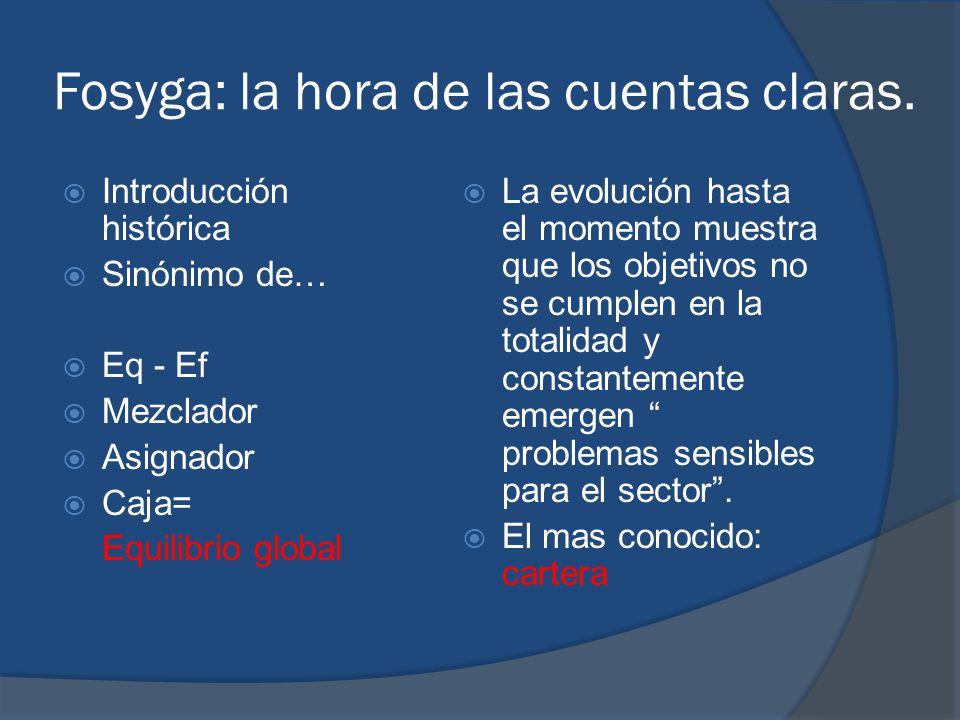 Fosyga: la hora de las cuentas claras. Introducción histórica Sinónimo de… Eq - Ef Mezclador Asignador Caja= Equilibrio global La evolución hasta el m
