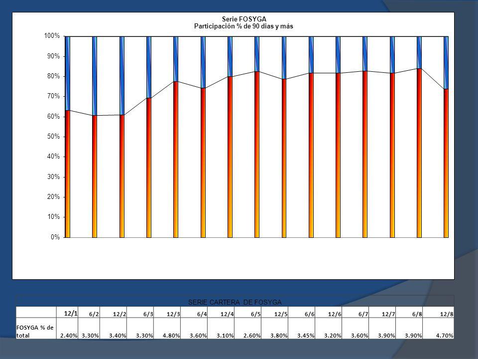 SERIE CARTERA DE FOSYGA 12/1 6/212/26/312/36/412/46/512/56/612/66/712/76/812/8 FOSYGA % de total2.40%3.30%3.40%3.30%4.80%3.60%3.10%2.60%3.80%3.45%3.20%3.60%3.90% 4.70%