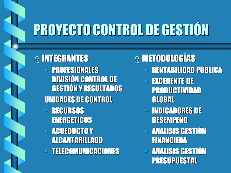 PROYECTO CONTROL DE GESTIÓN b INTEGRANTES PROFESIONALES DIVISIÓN CONTROL DE GESTIÓN Y RESULTADOSPROFESIONALES DIVISIÓN CONTROL DE GESTIÓN Y RESULTADOS