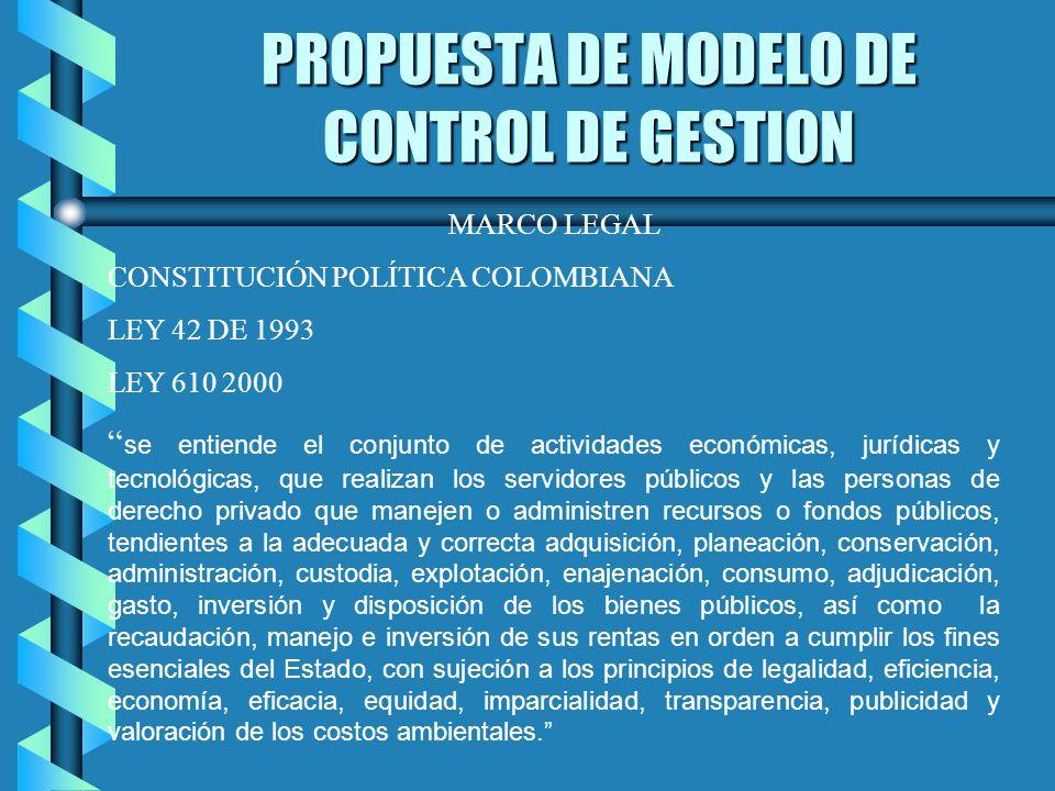 PROPUESTA DE MODELO DE CONTROL DE GESTION MARCO LEGAL CONSTITUCIÓN POLÍTICA COLOMBIANA LEY 42 DE 1993 LEY 610 2000 se entiende el conjunto de activida