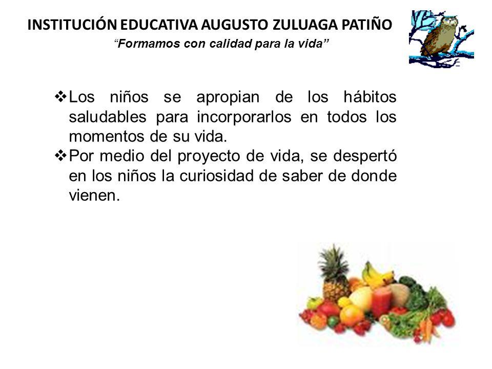 INSTITUCIÓN EDUCATIVA AUGUSTO ZULUAGA PATIÑO Formamos con calidad para la vida Los niños se apropian de los hábitos saludables para incorporarlos en t