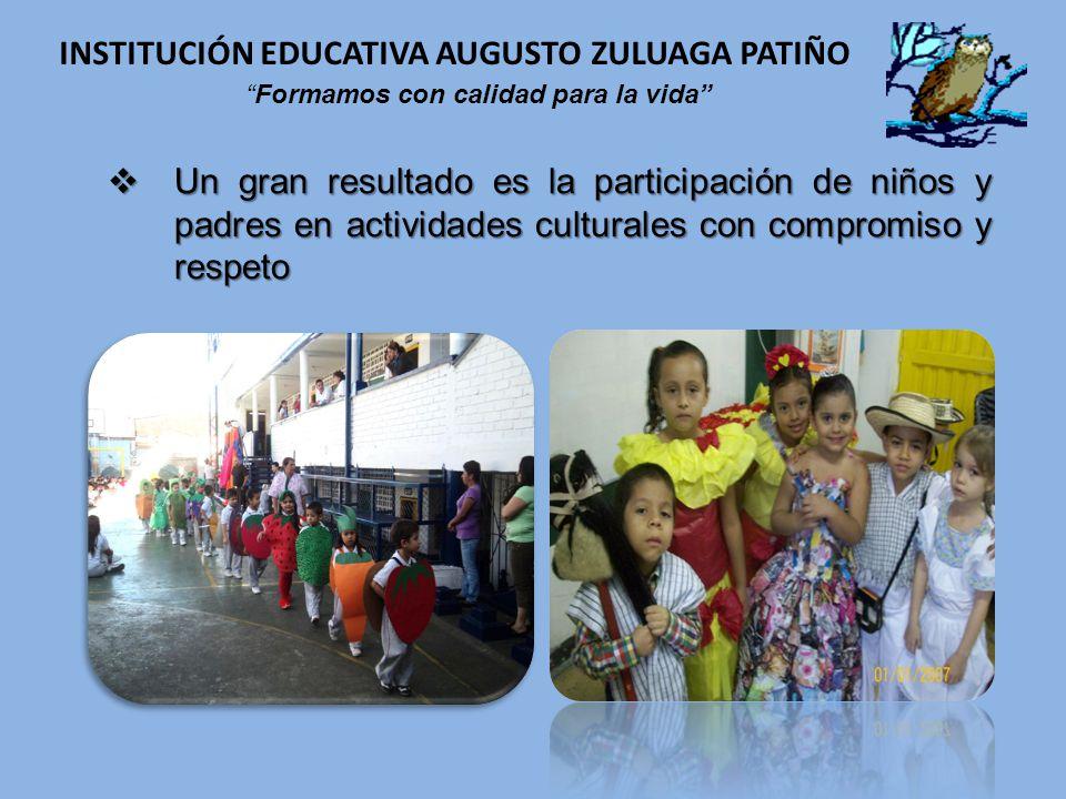 Un gran resultado es la participación de niños y padres en actividades culturales con compromiso y respeto Un gran resultado es la participación de ni