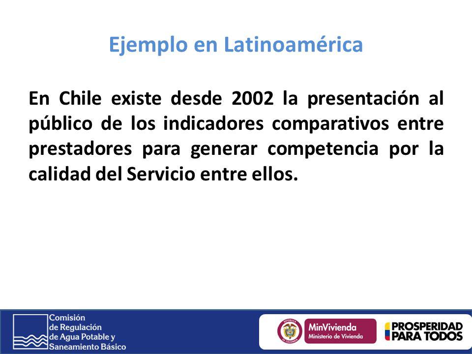Ejemplo en Latinoamérica En Chile existe desde 2002 la presentación al público de los indicadores comparativos entre prestadores para generar competen