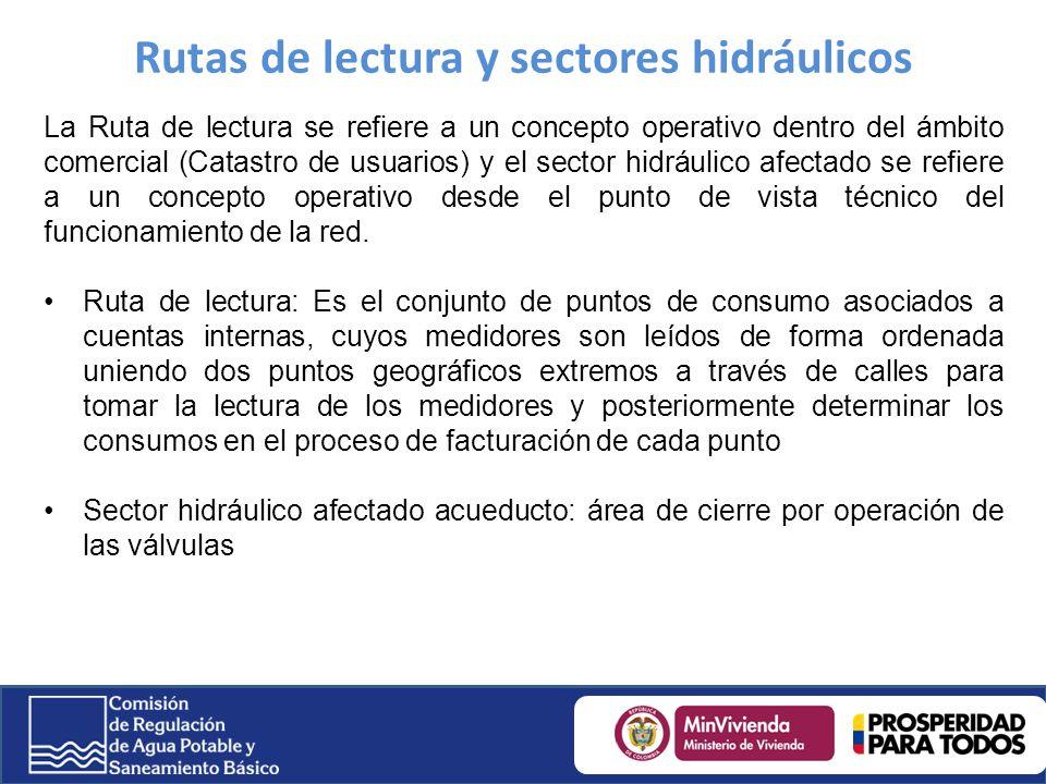 Rutas de lectura y sectores hidráulicos La Ruta de lectura se refiere a un concepto operativo dentro del ámbito comercial (Catastro de usuarios) y el