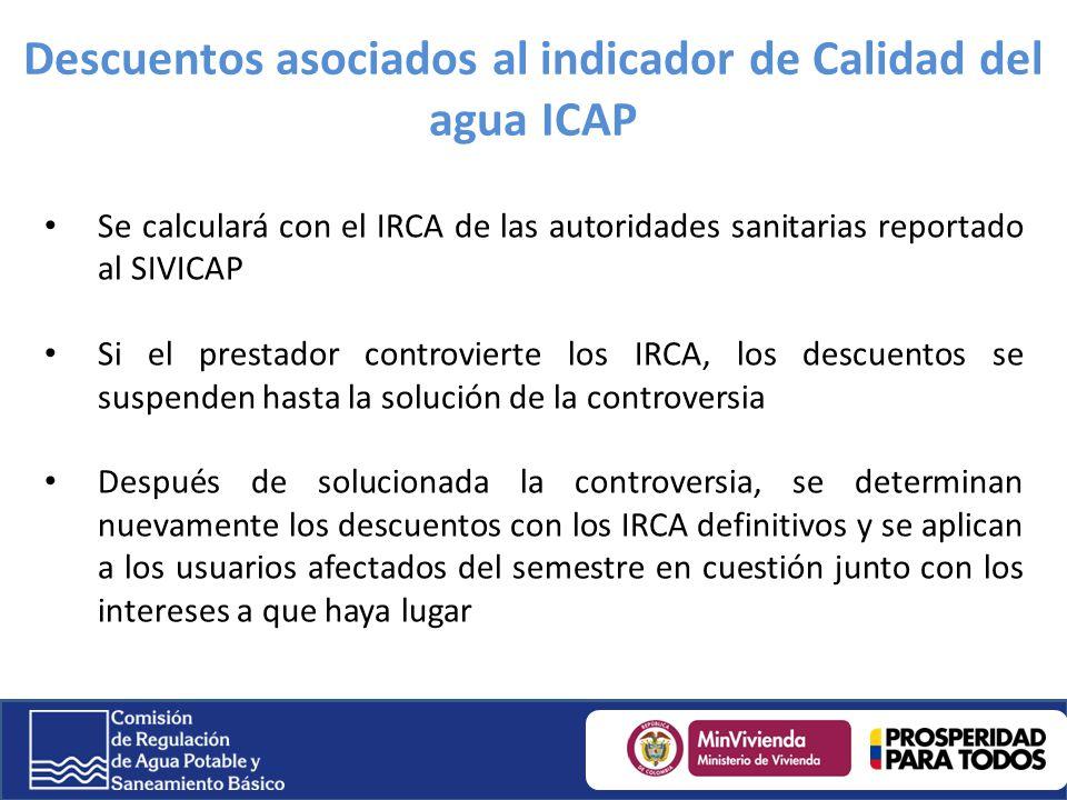 Descuentos asociados al indicador de Calidad del agua ICAP Se calculará con el IRCA de las autoridades sanitarias reportado al SIVICAP Si el prestador