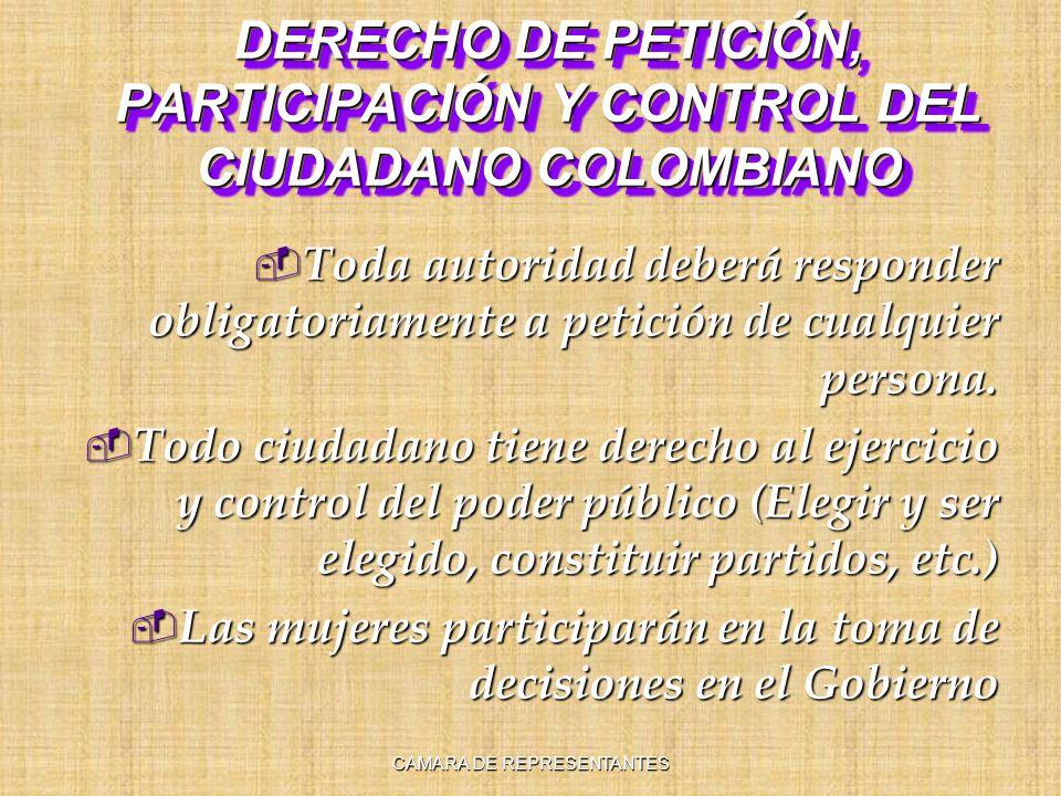 DERECHO DE PETICIÓN, PARTICIPACIÓN Y CONTROL DEL CIUDADANO COLOMBIANO Toda autoridad deberá responder obligatoriamente a petición de cualquier persona.