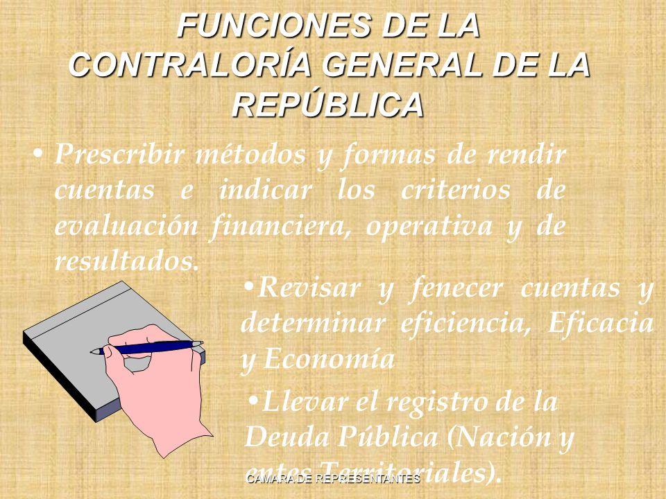 FUNCIONES DE LA CONTRALORÍA GENERAL DE LA REPÚBLICA Prescribir métodos y formas de rendir cuentas e indicar los criterios de evaluación financiera, operativa y de resultados.