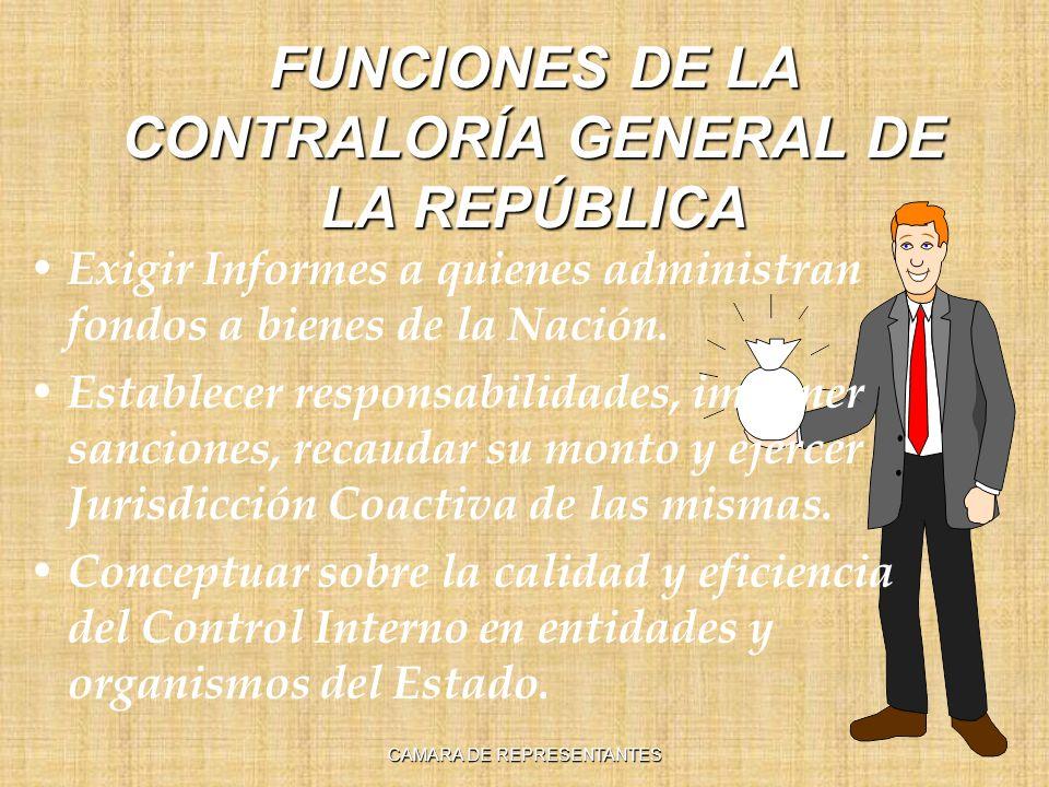 FUNCIONES DE LA CONTRALORÍA GENERAL DE LA REPÚBLICA Exigir Informes a quienes administran fondos a bienes de la Nación.